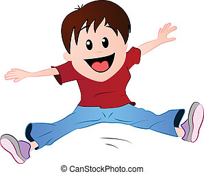 Little boy jumping - A vector illustration featuring a...