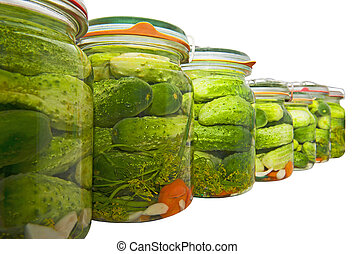 Cucumbers pickled isolated on the white background
