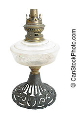 Oil lamp - Ancient oil lamp on white background