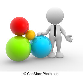 Balls - 3d people - man, person with color balls