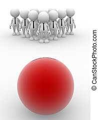 Ball - 3d people - man, person with a ball. Group of people...