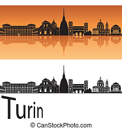 Turin skyline in orange background in editable vector file