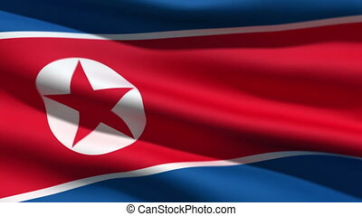 the North Korean flag, 3d animation. perfect seamless loop