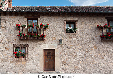 Flowery house - An old flowery house in Pedraza, Segovia...