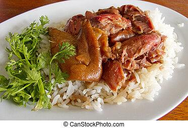Thai stewed pork leg with rice (Kao Ka Moo)