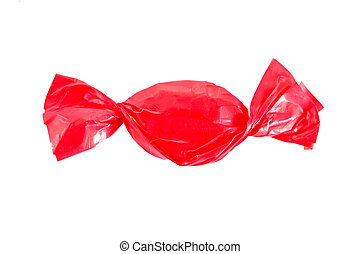 candy in red wrapper isolated on white
