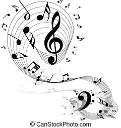 Basic RGB - Musical notes staff background on white Vector...