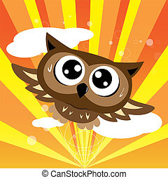 Owl flying quickly