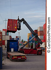Container manipulation - Forklift moving container to lorry