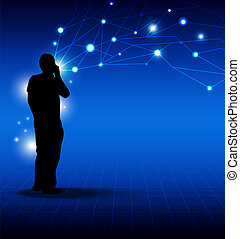 person talking on phone : network media technology concept