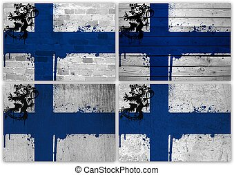 Finnish flag collage - Collage of Finnish flag with...