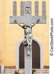 Jesus on a cross statue