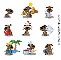 Dogs - Cute puppy's icon set
