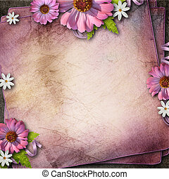 Vintage background with flowers - pink paper background with...