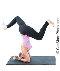 fitness woman make stretch on yoga and pilates pose on...