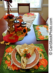 Autumn table - A table set with an Autumn seasonal theme