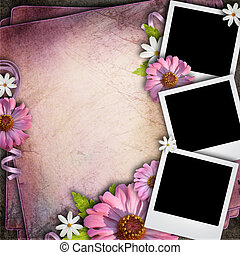 Vintage background with three retro blank photos and flowers...