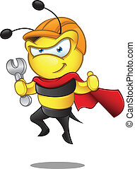 Super Bee - Holding Spanner - A vector illustration of a...