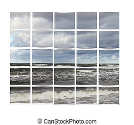 Pieces of nature picture - Image of a photograph cut into...