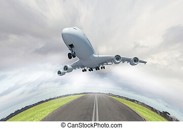 Flying plane - Image of a white flying passenger plane