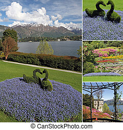 collage with spectacular  images  from Garden of Villa Carlotta in Tremezzo on lake Como, Lombardy, Italy, Europe