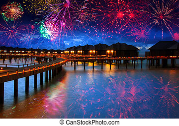 Festive New Years fireworks over the tropical island