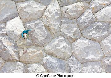 mur, robinet, pierre, fond