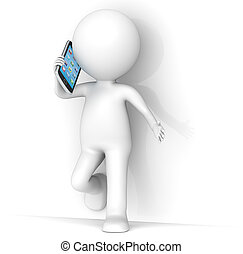 Communication - 3D little human character leaning against a...