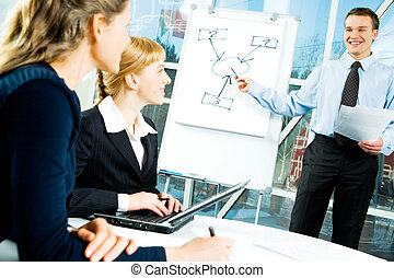 Business speech - Photo of confident speaker giving a...