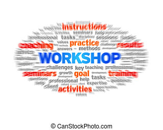 Workshop blurred tag cloud on white background.