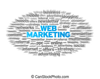 Web Marketing blurred tag cloud on white background