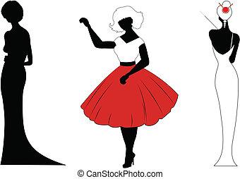 ladies in various dress