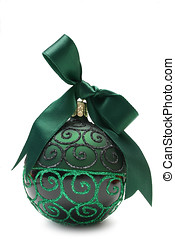 Green Bauble - Green and black Christmas bauble with green...