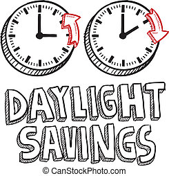 Daylight savings time sketch - Doodle style illustration of...