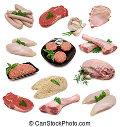 Raw Meat Sampler - Variety of raw meat products isolated on...