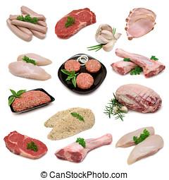 cru, carne, amostra