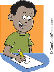 Boy writing - Cartoon illustration of a boy writing and...