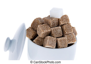 brown sugar. unhealthy diet with carbohydrates - white and...
