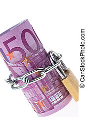 euro bill concluded with a chain