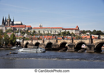 prague, charles bridge and prague castle hradcany - prague,...