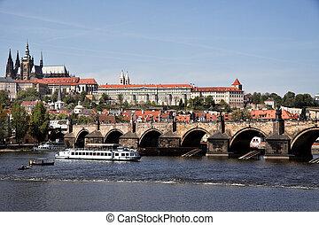 prague, charles bridge and prague castle hradcany - prague,...