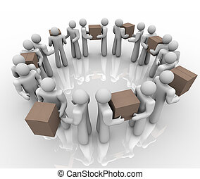 A team of people working in a circle process or system to deliver boxes and packages in a shipping and receiving department