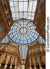 galleria vittorio emanuele in milan, italy - shopping center...