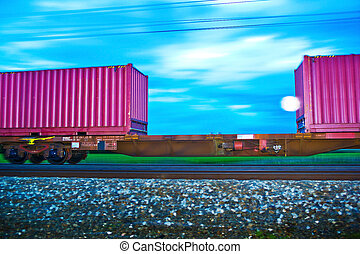 freight train in the night. night train - a freight train...