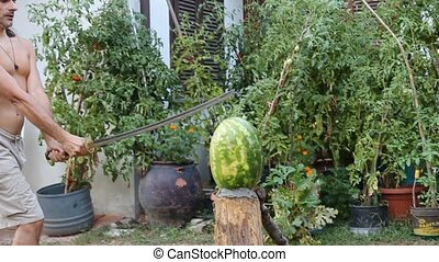 Katana watermelon - cutting up a watermelon with a samurai...