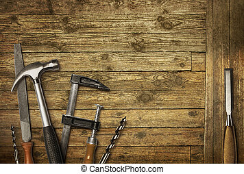 Carpentry tools old woo - Carpentry hand tools set on old...