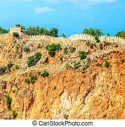 Fragment of the wall of an old fortress. Photo wall on top...