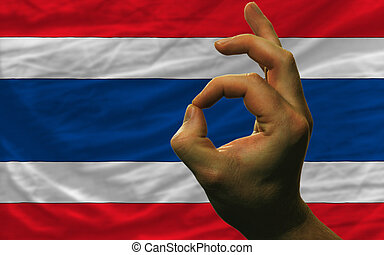 ok gesture in front of thailand national flag