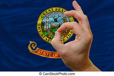 ok gesture in front of idaho us state flag