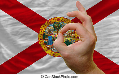ok gesture in front of florida us state flag